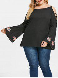 Criss Cross Sleeve Plus Size Embroidery Blouse -
