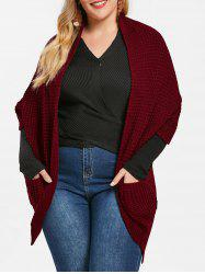 Front Pockets Plus Size Chunky Cardigan -