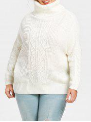 Turtleneck Plus Size Cable Knit Pullover Sweater -