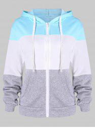 Contrast Color Zip Up Drawstring Hoodie -