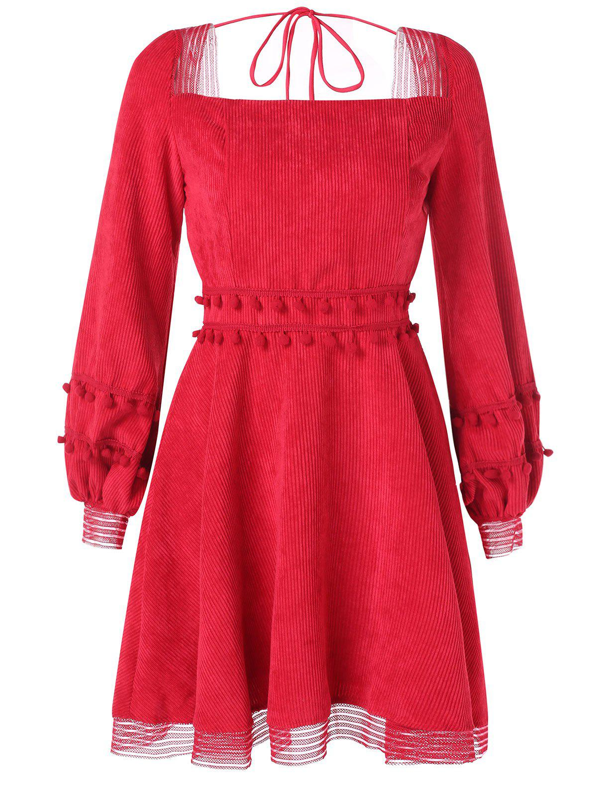Cheap Long Sleeve Corduroy Skater Dress
