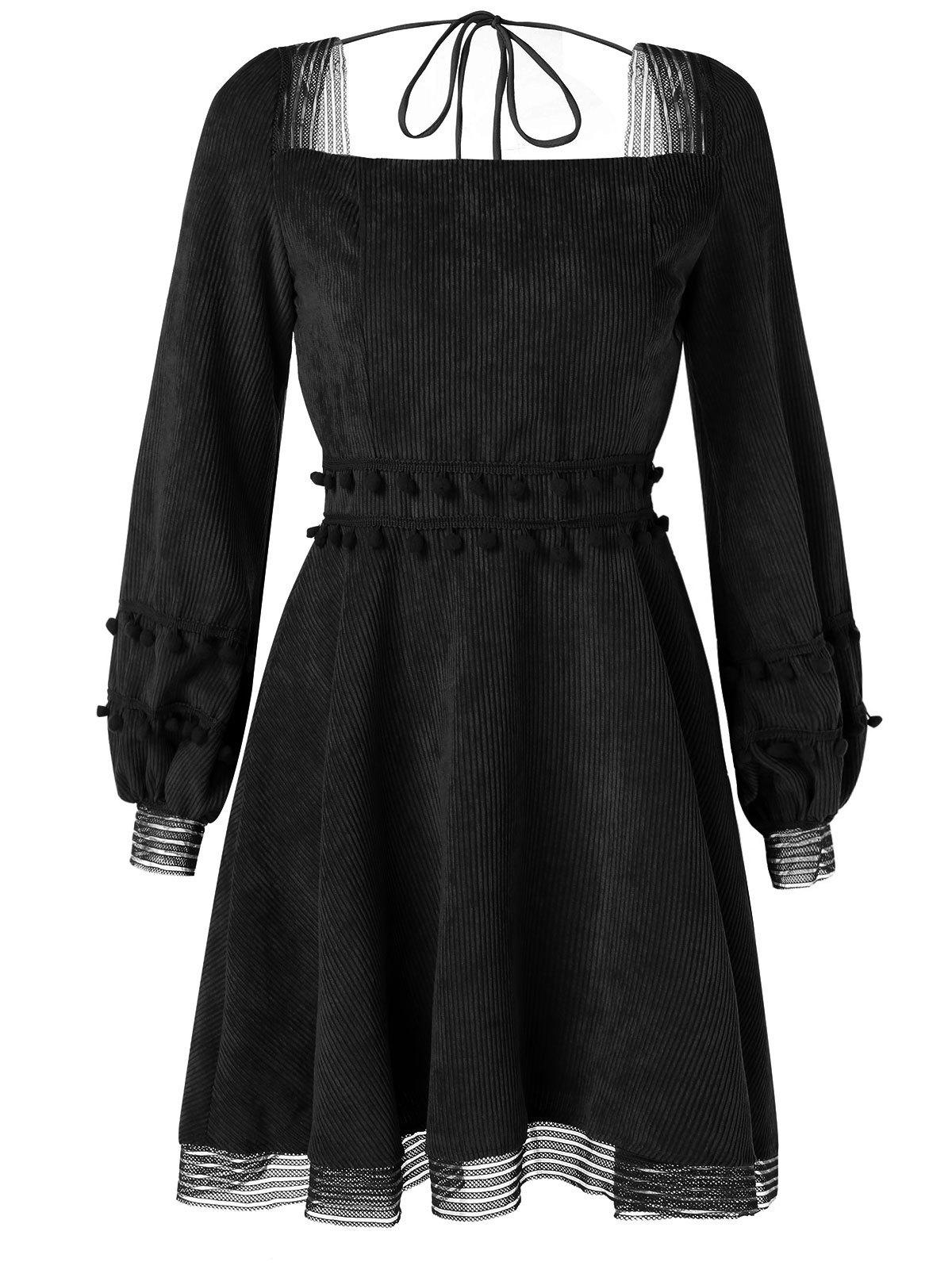 Discount Long Sleeve Corduroy Skater Dress