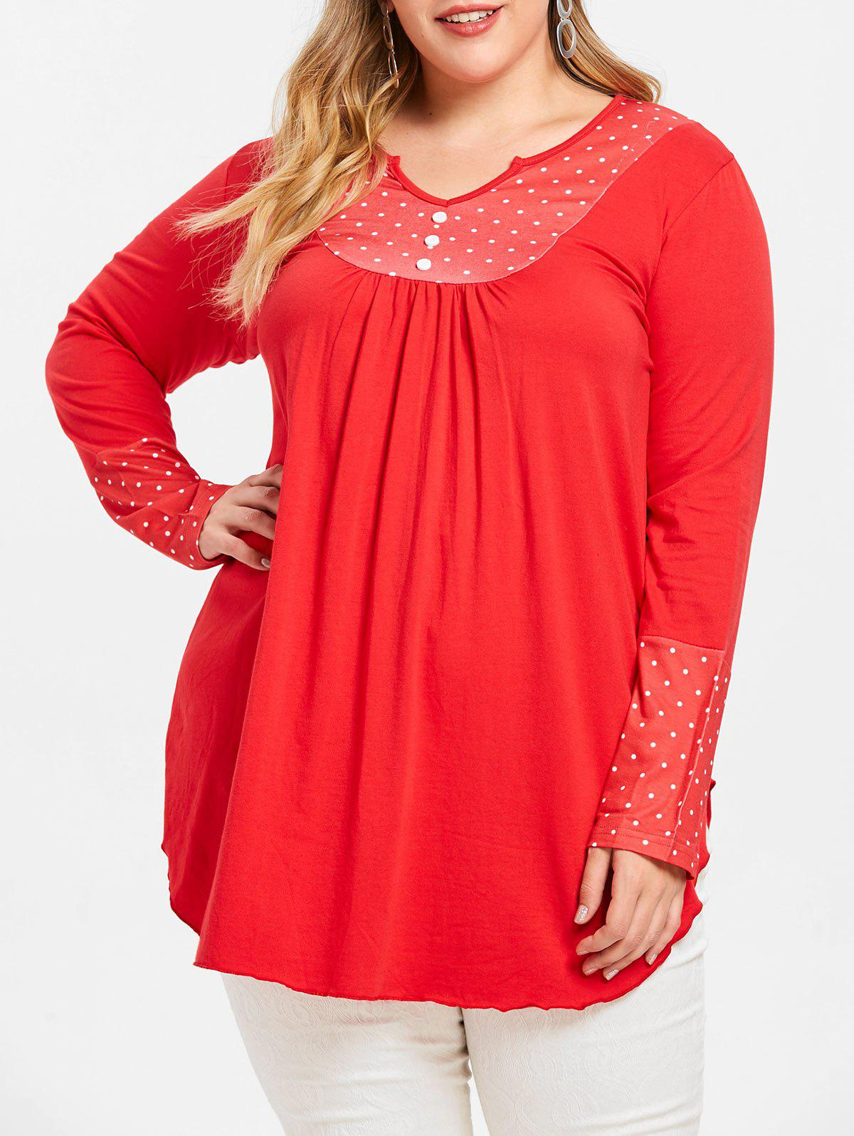 Latest Polka Dot Long Sleeve Plus Size Tunic Tee