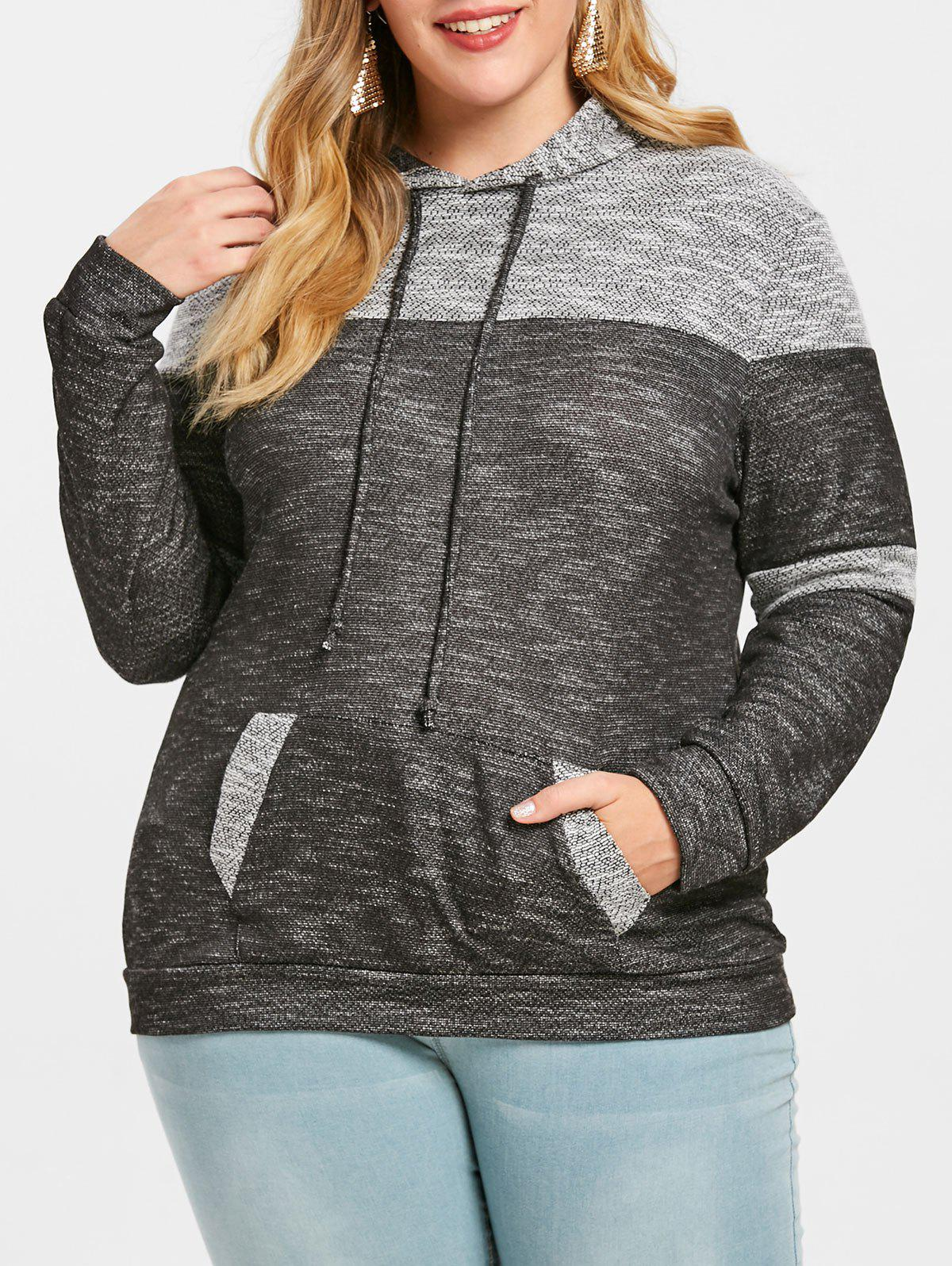 Shop Plus Size Pouch Pocket Pullover Hoodie