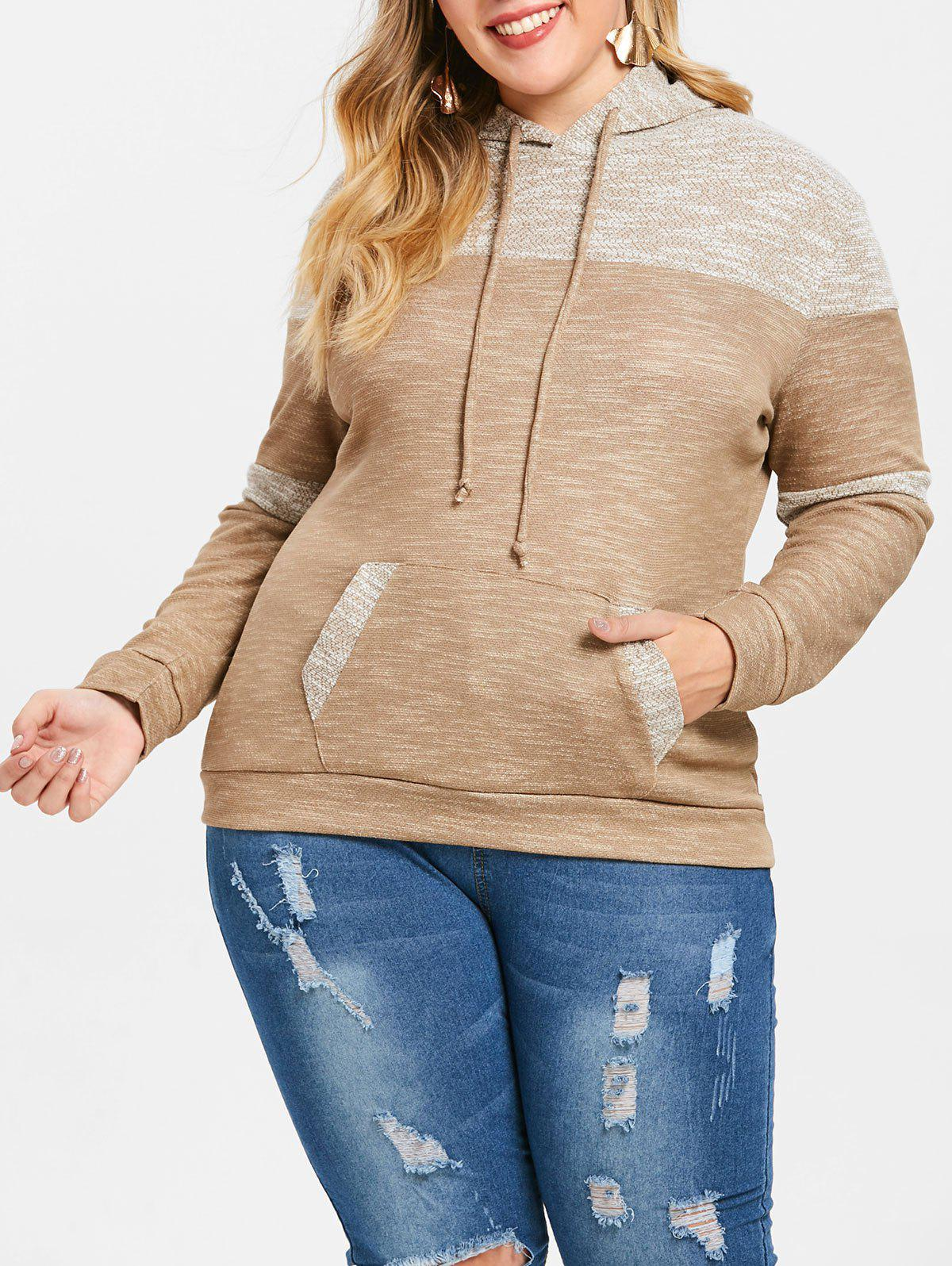 Cheap Plus Size Pouch Pocket Pullover Hoodie