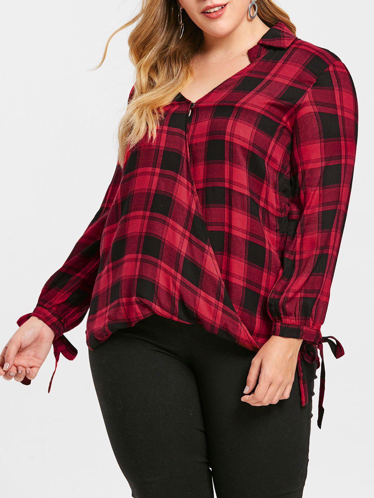 Shops Plus Size Checked Crossover Shirt
