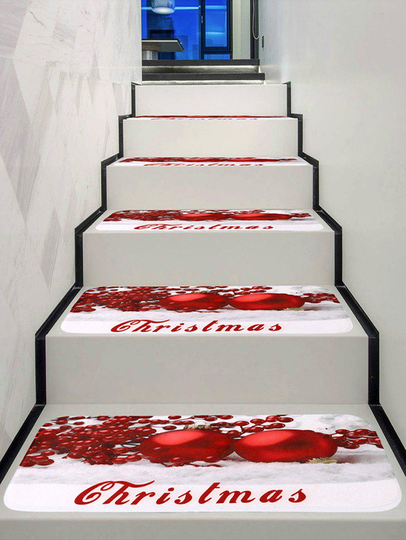 Online Christmas Red Balls Print Stair Rugs