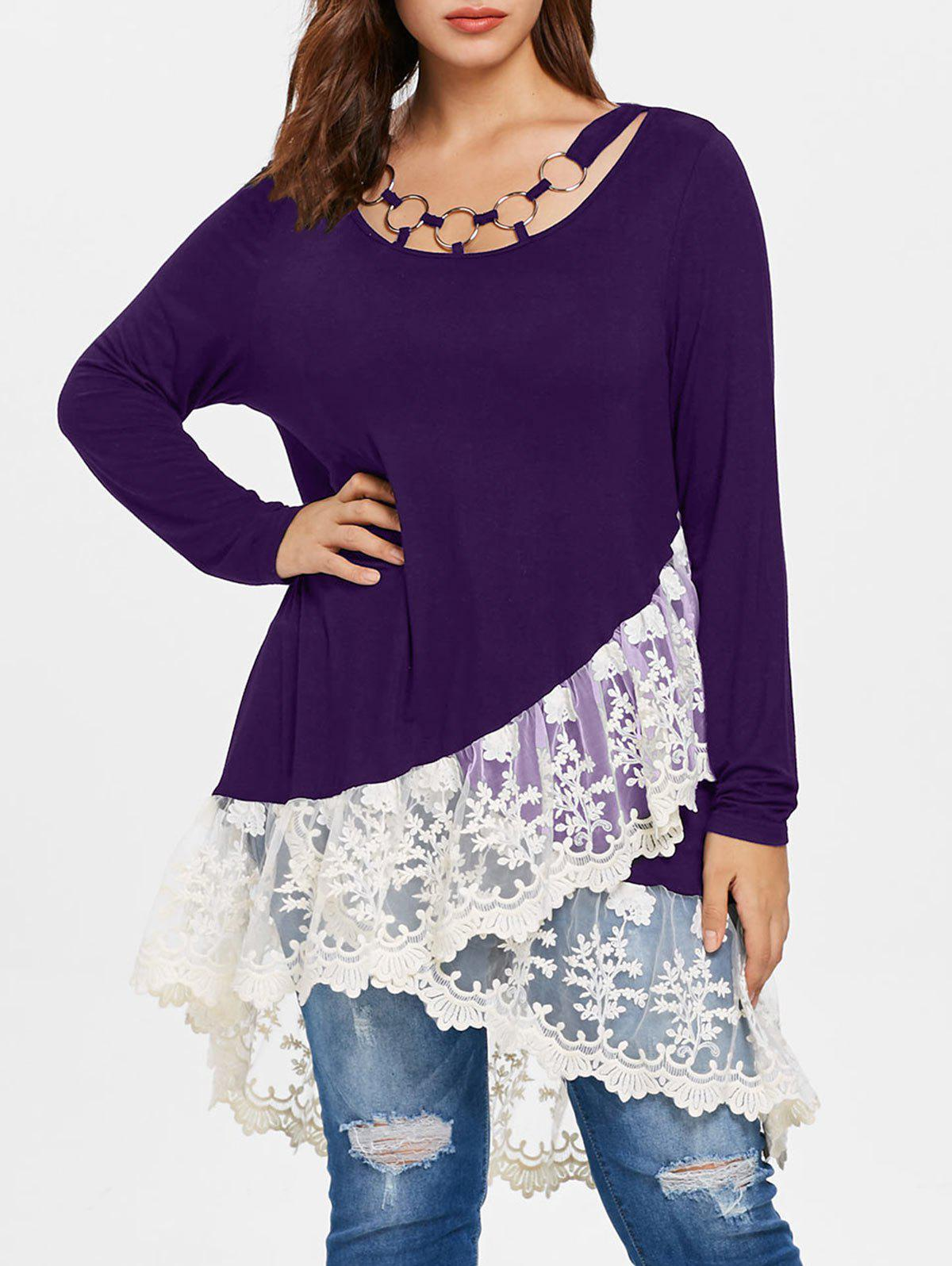 Hot Plus Size Lace Panel Layered T-shirt