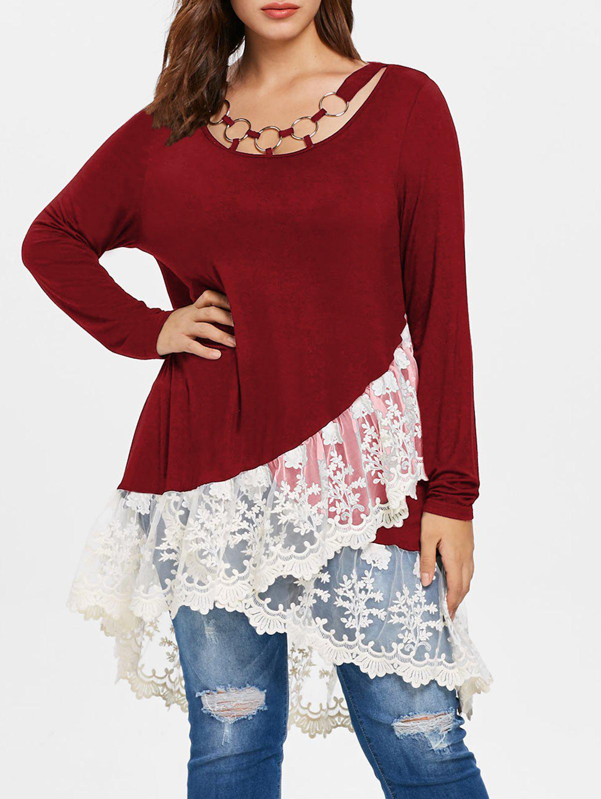 Latest Plus Size Lace Panel Layered T-shirt