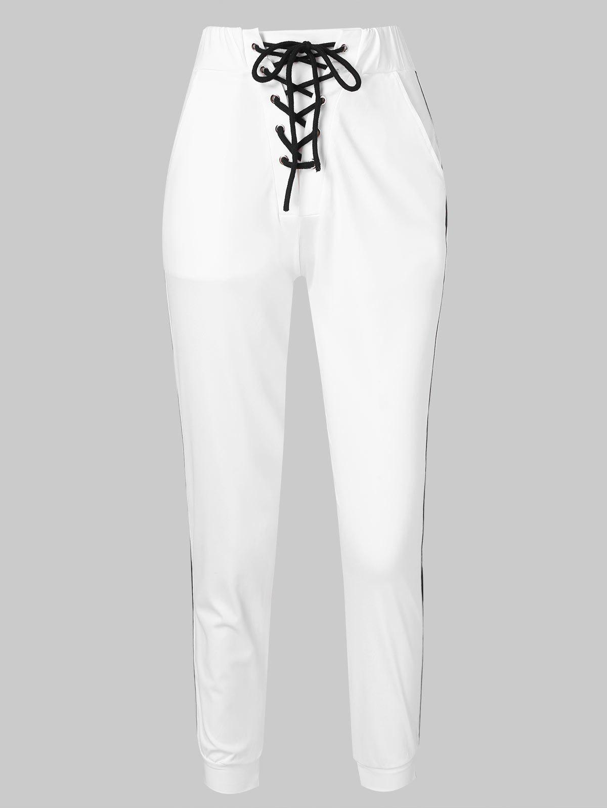 Hot Lace-up Contrast Tapered Pants
