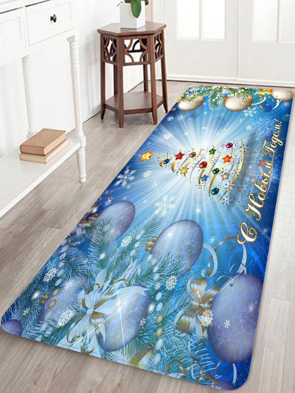 Store Shiny Christmas Tree with Balls Print Area Rugs