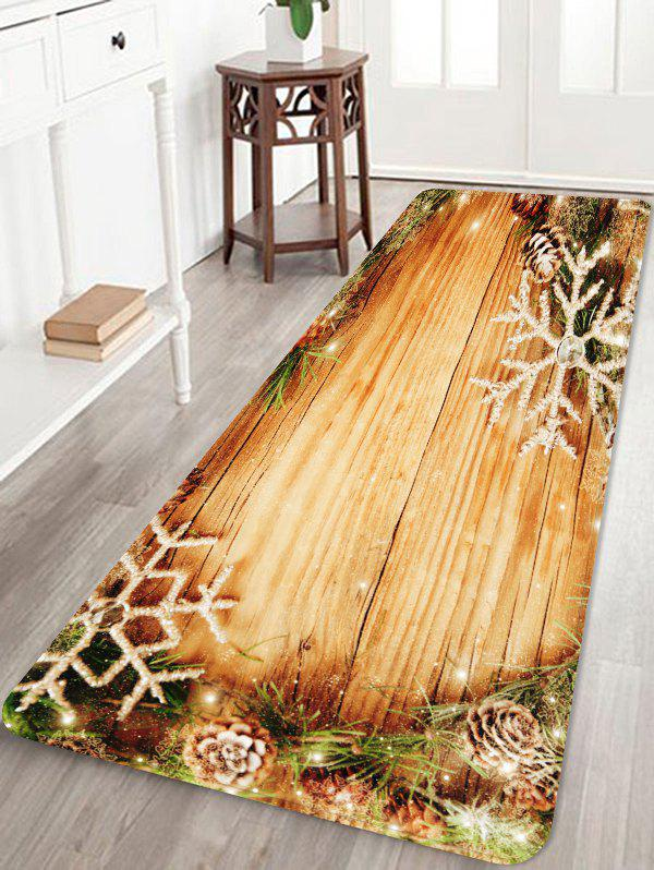 Trendy Christmas Wood Board Pattern Anti-skid Area Rug