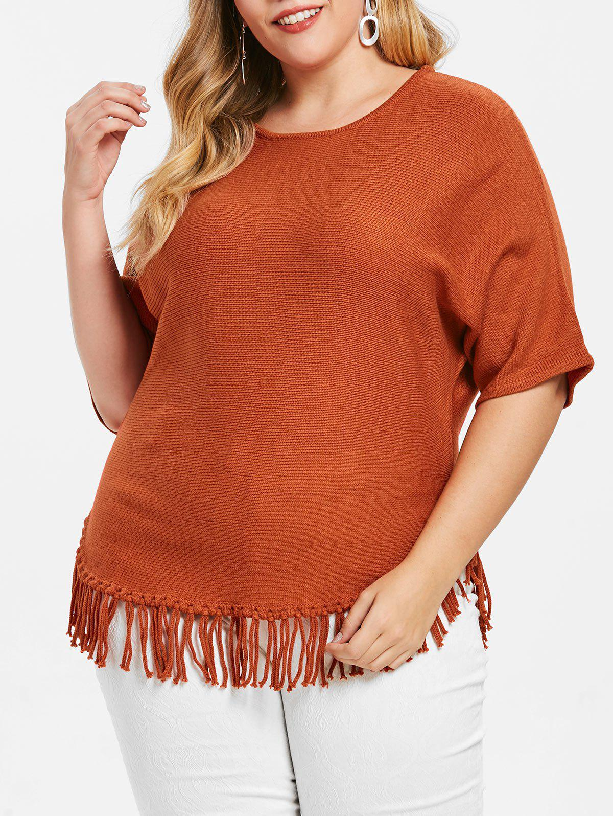 Best Fringe Hem Plus Size Pullover Sweater