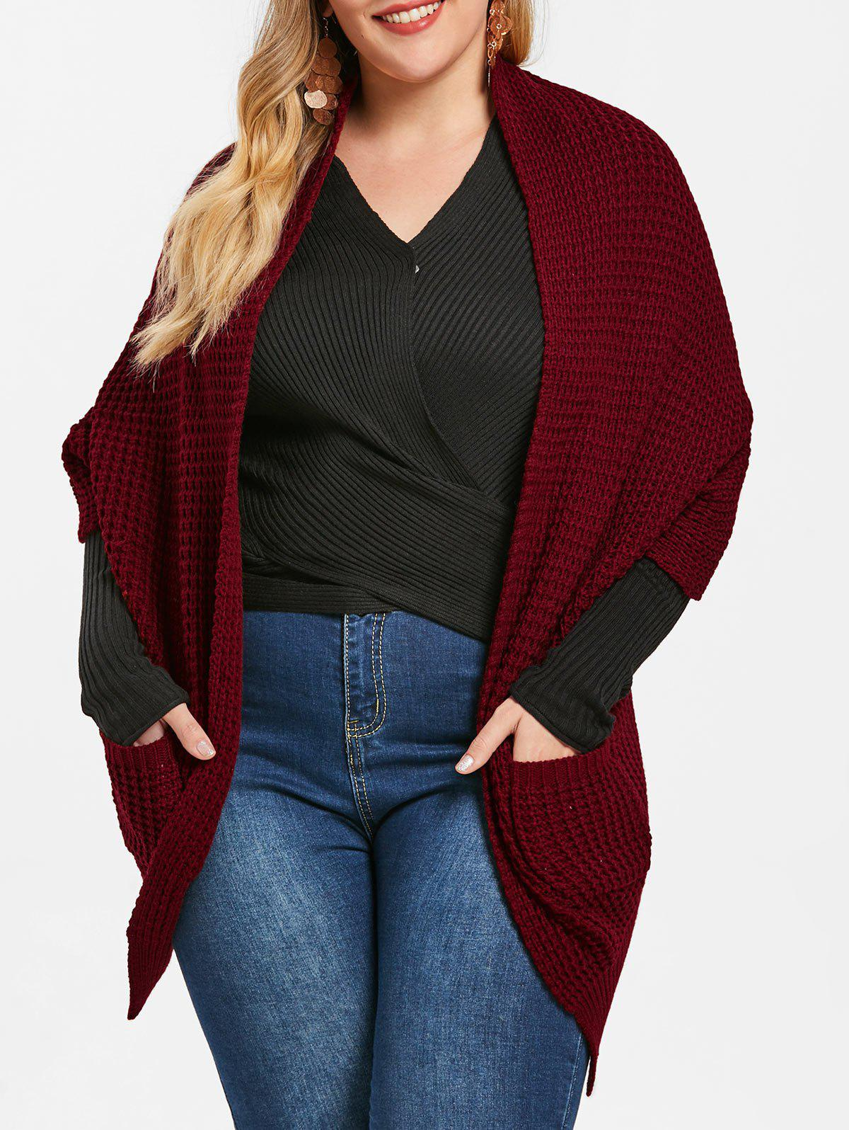 Hot Front Pockets Plus Size Chunky Cardigan