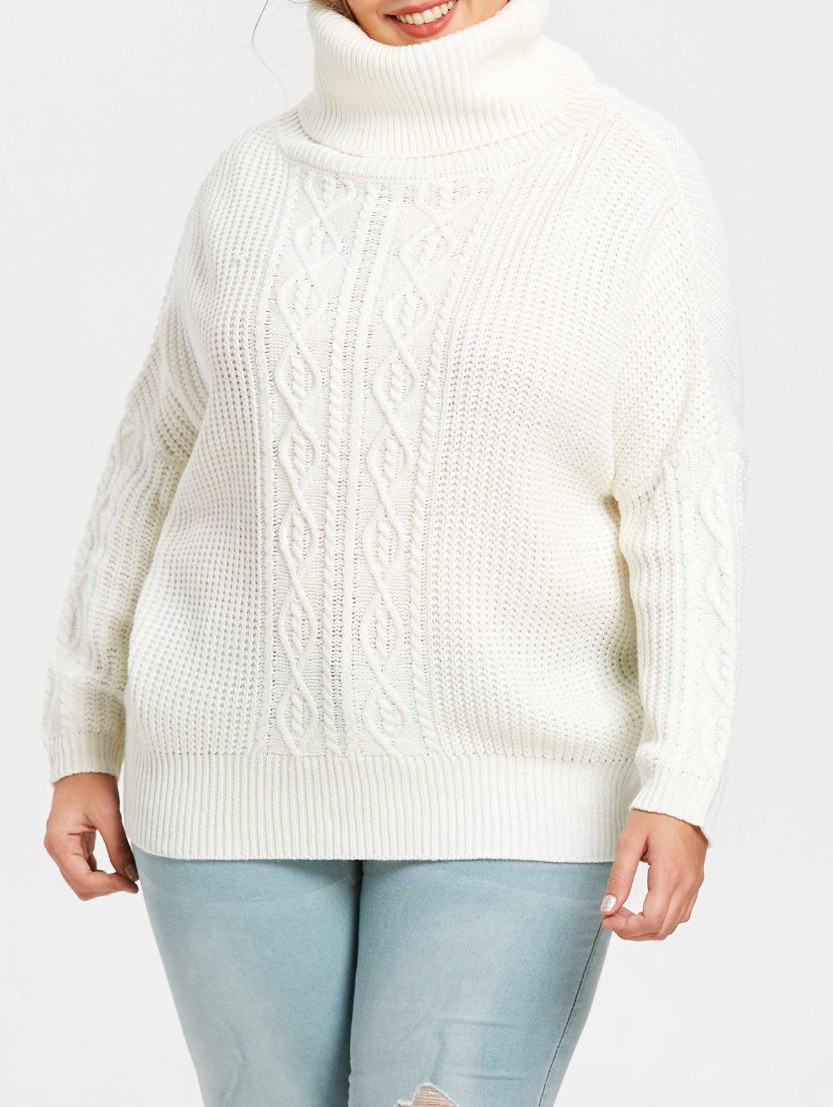 1bfee3732db 37% OFF  Turtleneck Plus Size Cable Knit Pullover Sweater