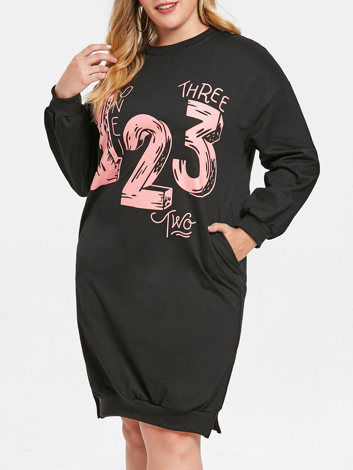 Latest Number Print Plus Size Side Slit Sweatshirt Dress