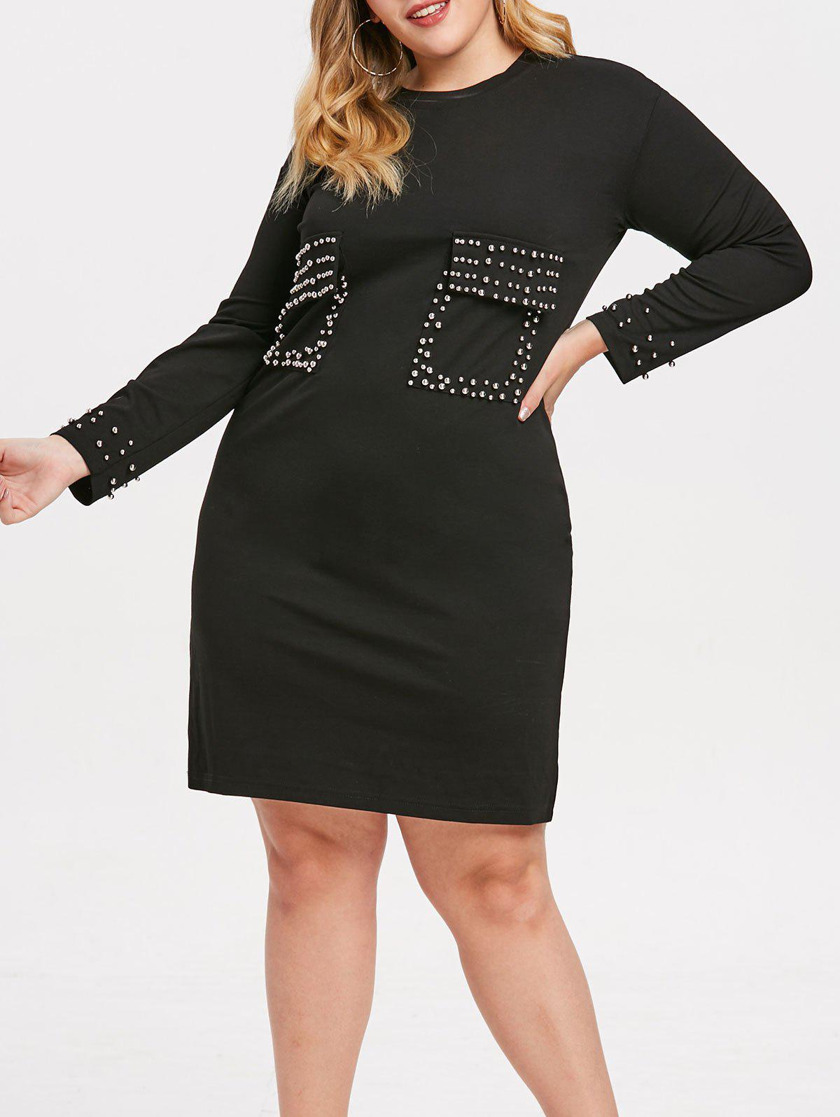 Online Beading Embellished Plus Size Front Pockets Shift Dress