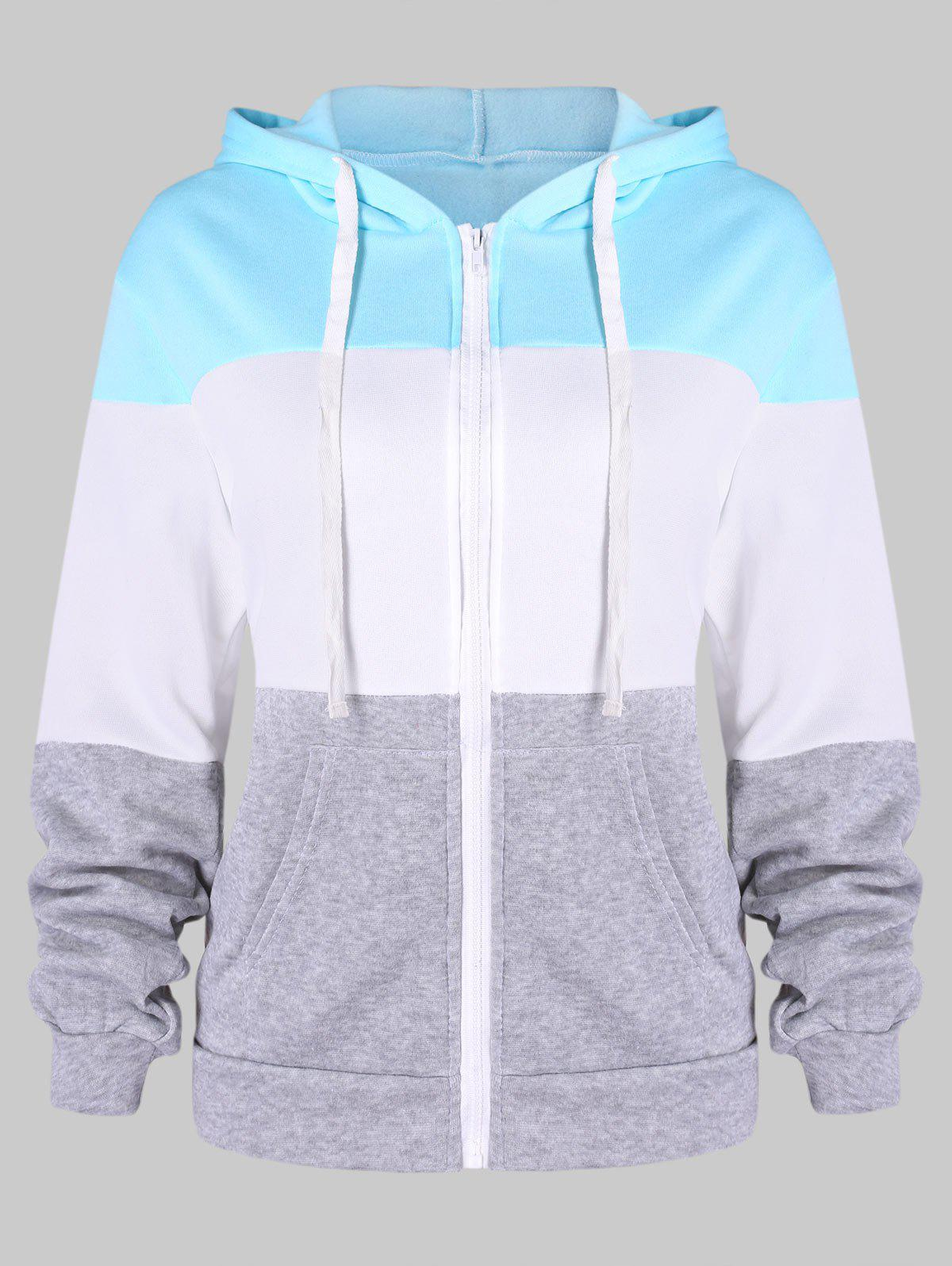 Outfits Contrast Color Zip Up Drawstring Hoodie
