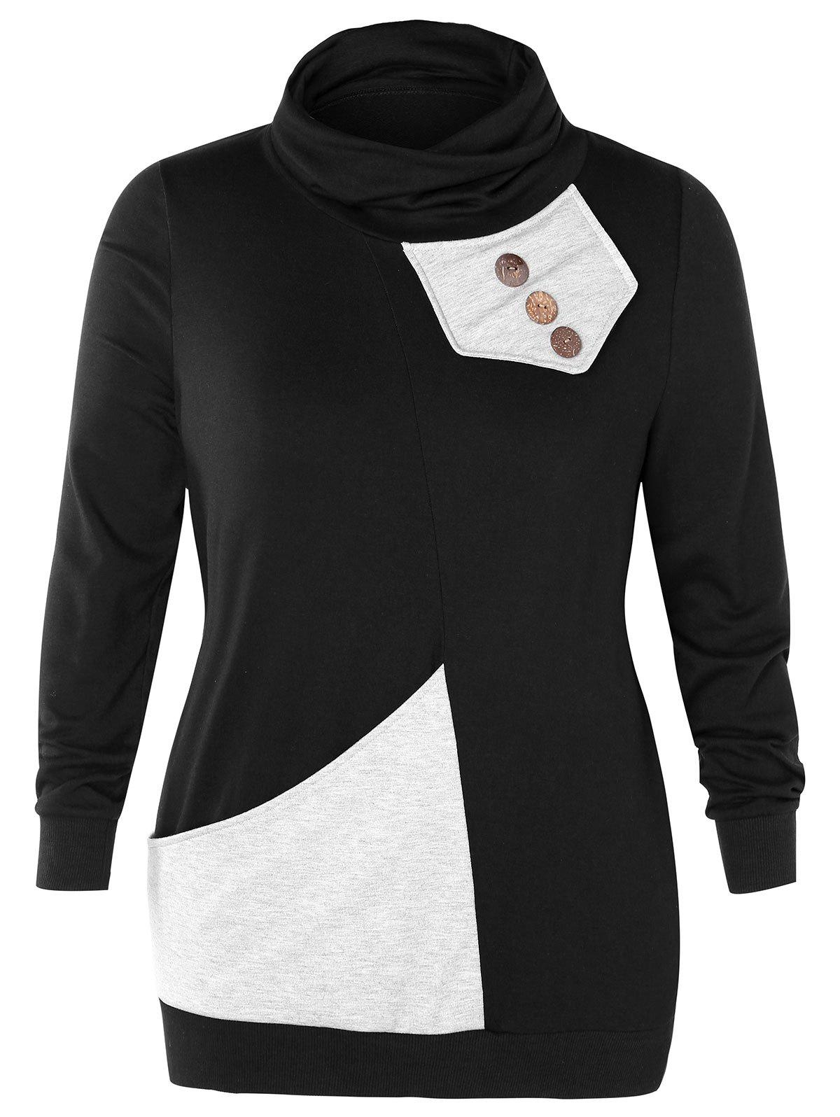 Affordable Cowl Neck Plus Size Button Embellished Sweatshirt