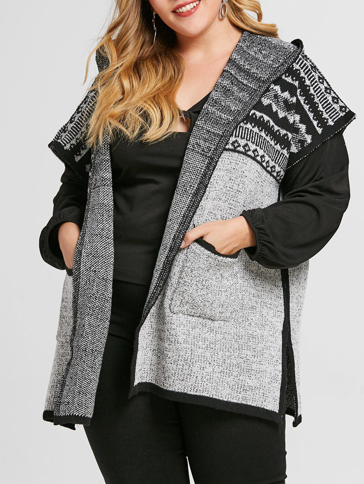 Shop Printed Plus Size Hooded Cardigan