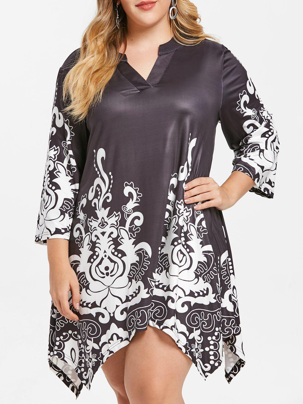Outfits Printed Plus Size Asymmetrical Dress