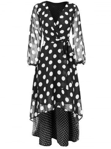 Polka Dots Maxi V Neck Wrap Dress