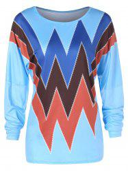 Dropped Shoulder Full Sleeve Zigzag Print T-shirt -
