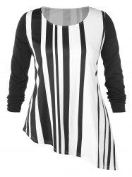Plus Size Stripe Pattern Asymmetric T-shirt -