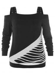 Cold Shoulder Plus Size Ripped T-shirt -