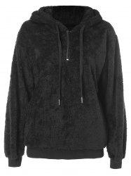 Drawstring Fluffy Hoodie with Zipper -