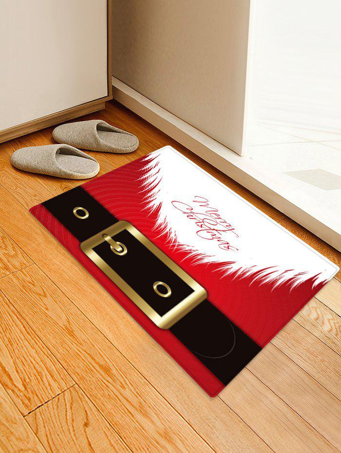 Store Christmas Santa Belt Pattern Anti-skid Area Rug