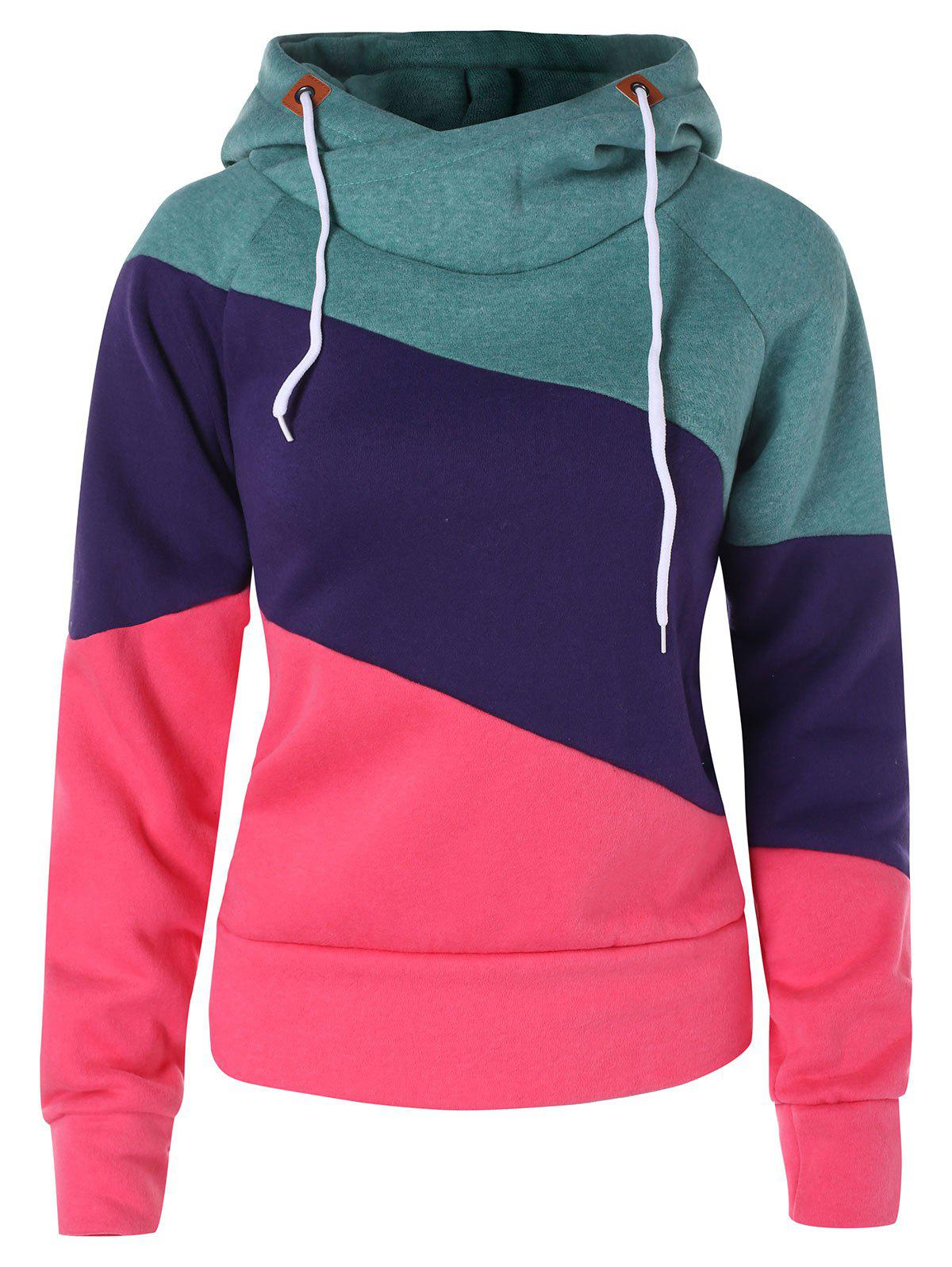 Trendy Color Block Hoodie with Drawstring