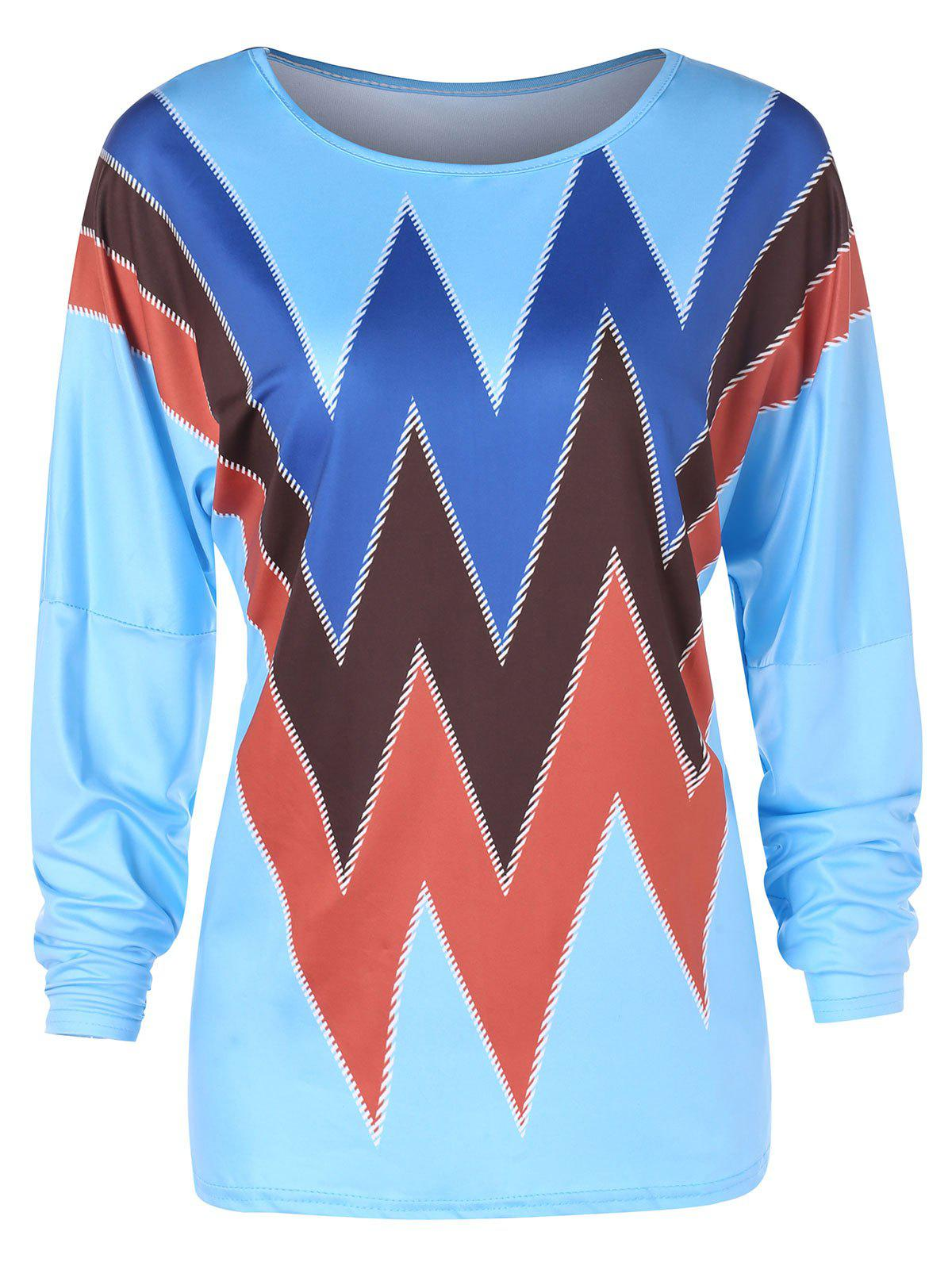 Sale Dropped Shoulder Full Sleeve Zigzag Print T-shirt