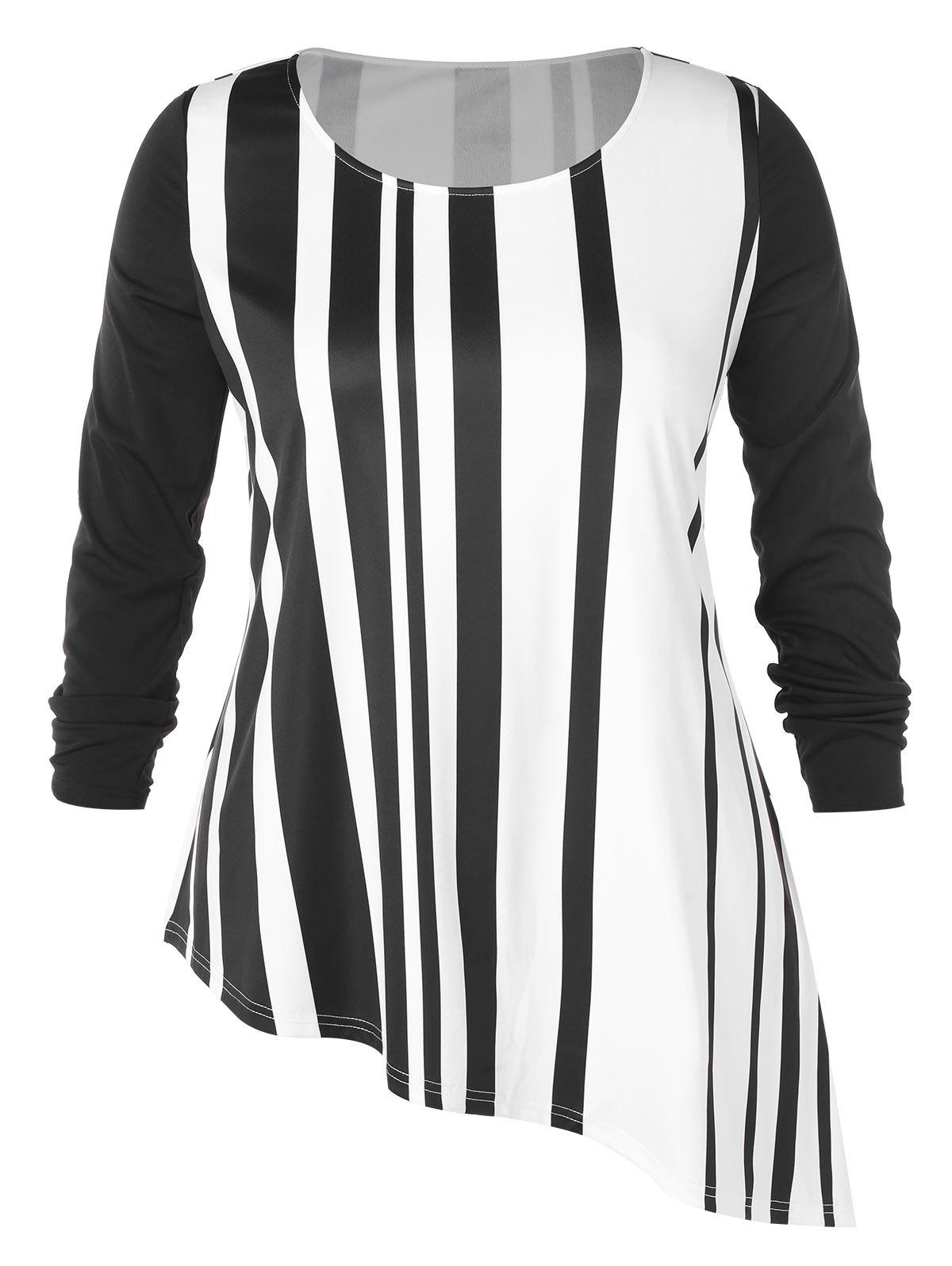 Hot Plus Size Stripe Pattern Asymmetric T-shirt