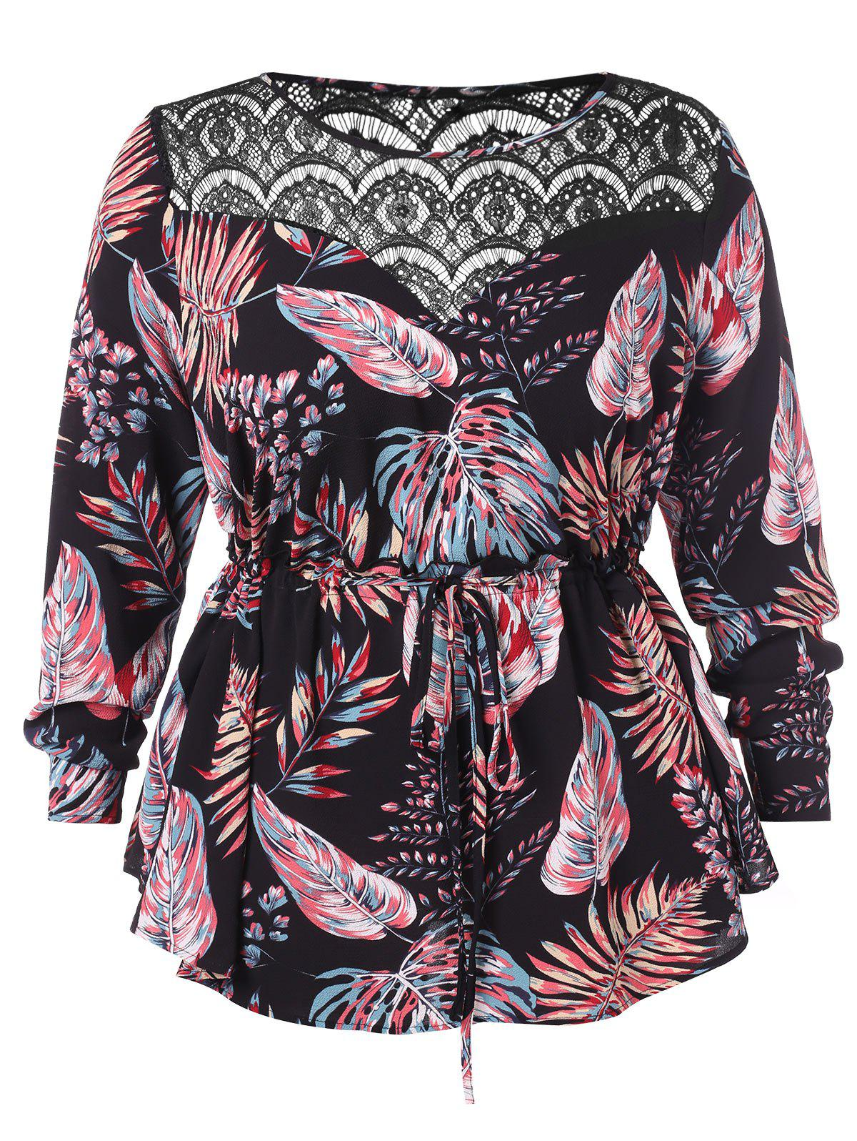 Affordable Plus Size Drawstring Lace Insert Tropical Blouse