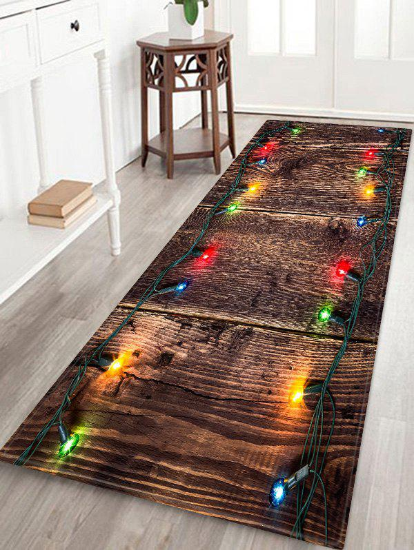 Outfit Christmas Light Wood Pattern Anti-skid Area Rug