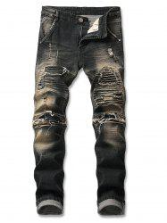 Light Wash Destroyed Zip Fly Biker Jeans -