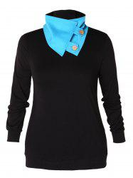 Stand Up Collar Plus Size Button Embellished Sweatshirt -
