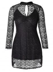 Plus Size Openwork Lace Dress -