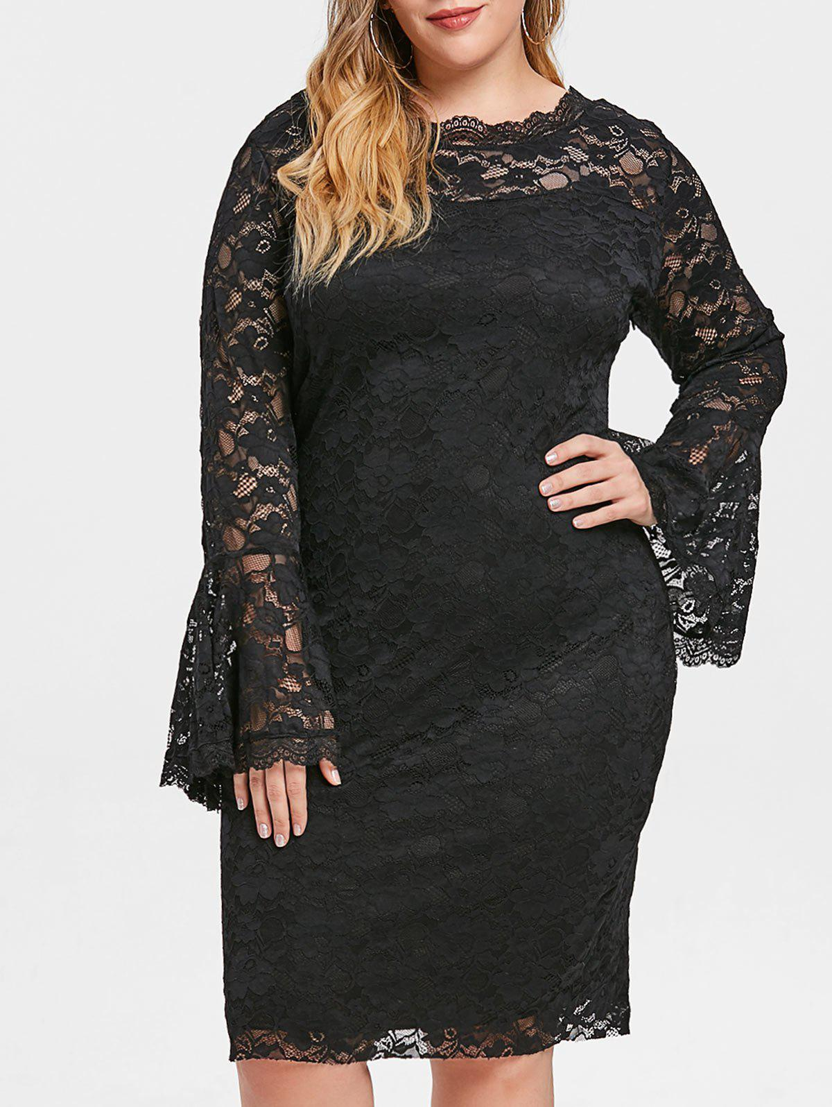 Shops Bell Cuff Sleeve Plus Size Lace Dress