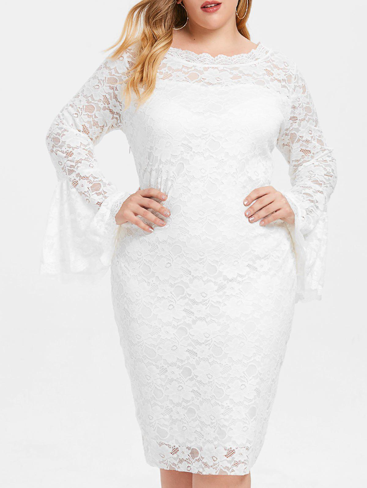 Cheap Bell Cuff Sleeve Plus Size Lace Dress