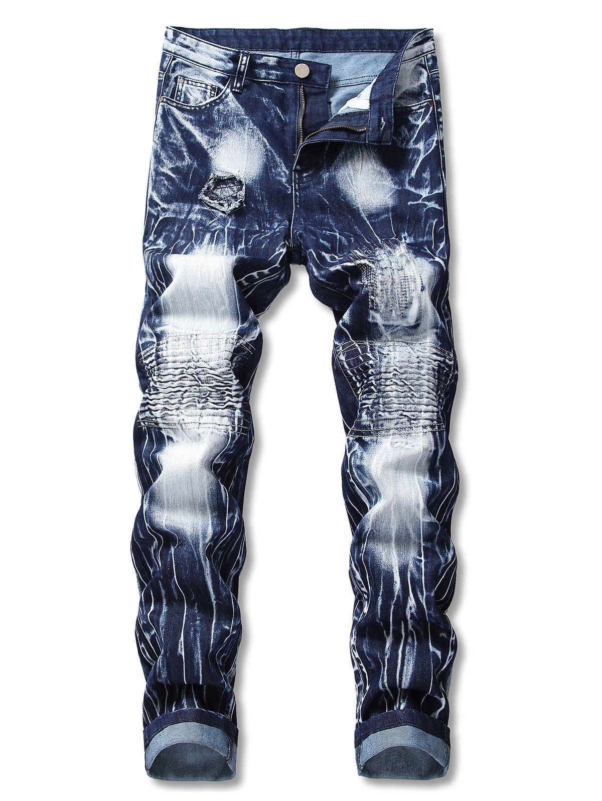 Outfits Destroyed Tie Dye Zip Fly Biker Jeans