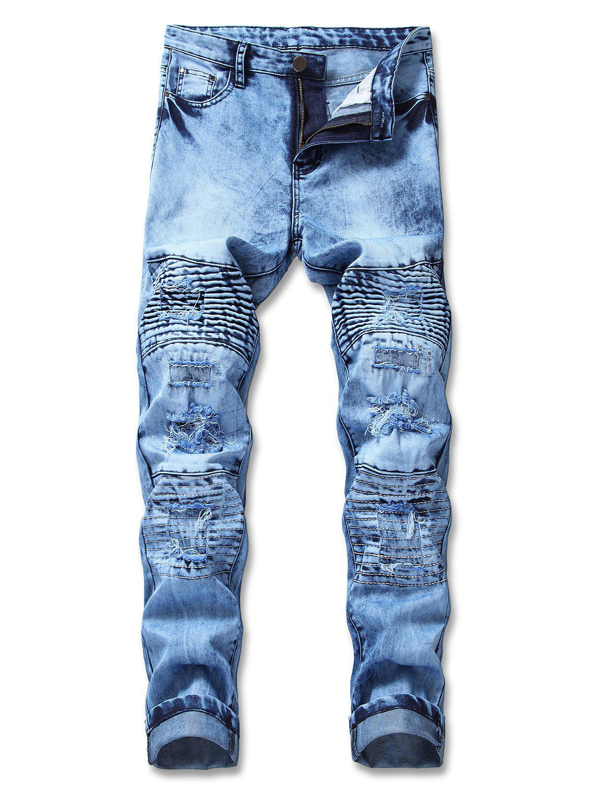 Fancy Tie Dye Ripped Zip Fly Biker Jeans