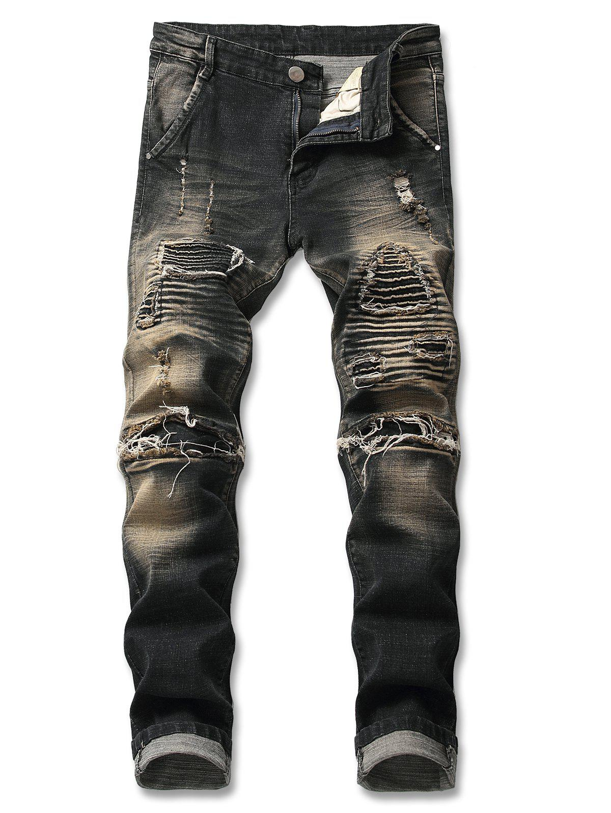 Store Light Wash Destroyed Zip Fly Biker Jeans