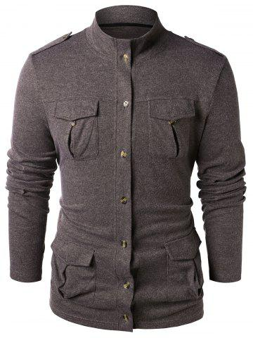 Stand Collar Epaulet Design Button Up Sweater