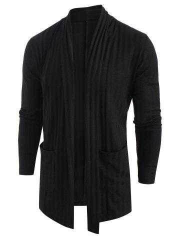 Open Front Long Sleeve Solid Coat