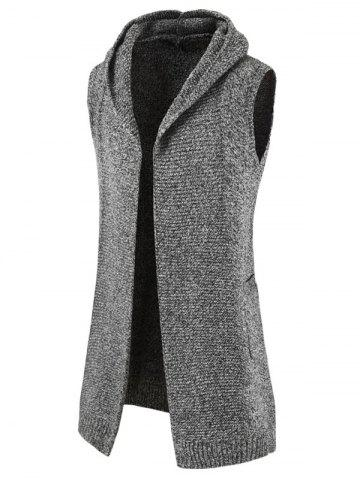 Long Open Front Sleeveless Knitted Hooded Cardigan