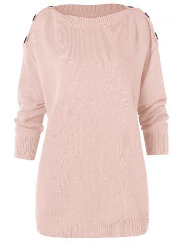Buttons Embellished Drop Shoulder Tunic Sweater