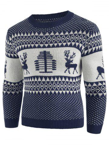 Christmas Deer Print Crew Neck Sweater