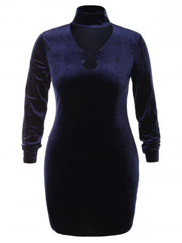 Plus Size High Neck Cut Out Velvet Dress